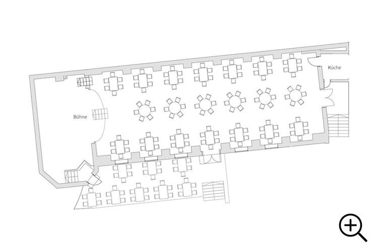 Grundriss Gartensaal Klostergasthof Andechs